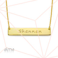 18K Gold Plated 0.925 Silver Bar Necklace